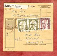 Paketkartenteil, MiF Heinemann, Cappeln Nach Stralsund 1972 (61498) - BRD
