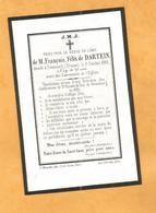 IMAGE GENEALOGIE FAIRE PART  DECES CARTE MORTUAIRE DARTEIN CREUZNACH 1796 1866 - Obituary Notices