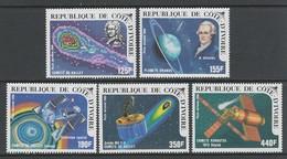 SERIE NEUVE DE COTE D'IVOIRE - PASSAGE DE LA COMETE DE HALLEY N° Y&T PA 103 A 107 - Astronomie