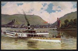 C0453 - Paul Pützhofen Künstlerkarte - Dampfer - Rheinschifffahrt Schaufelraddampfer Vor Bingen Hoursch & Bechstedt - Dampfer