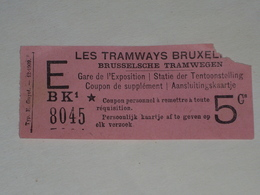 Ancien Ticket Tramway, Bruxelles Belgique.Ticket Autobus,Train, Metro. 1909 - Tram