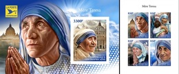 Centrafrica 2018, Mother Teresa, 4val In BF +BF IMPERFORATED - Mother Teresa