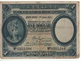 HONG KONG  $ 1 Helmeted Woman At Left,  P172c   Dated 1.6.1935 - Hong Kong
