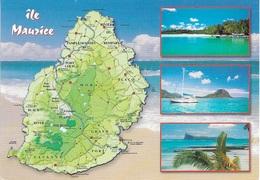 CARTES GÉOGRAPHIQUES - ILE MAURICE - 3 PETITES VUES + LA CARTE DU PAYS - CPM - VIERGE - - Cartes Géographiques