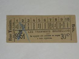 Ancien Ticket Tramway, Bruxelles Belgique.Ticket Autobus,Train, Metro. - Tram