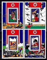 Nord North Korea, Children , Dolls, Space, 1979, 4 Blocks - Space