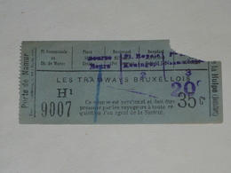Ancien Ticket Tramway, Bruxelles Belgique.Ticket Autobus,Train, Metro. Surcharge. - Tram