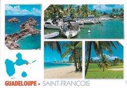 CARTES GÉOGRAPHIQUES - GUADELOUPE - SAINT-FRANÇOIS - 4 PETITES VUES + LA CARTE - CPM - VIERGE - - Cartes Géographiques