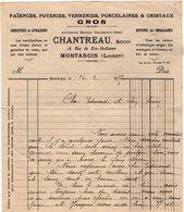 VP13.655 - Lettre - Faience - Poteries - Verreries - Porcelaines -& Cristaux CHANTREAU à MONTARGIS ( Loiret ) - France