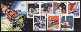 Vietnam, 1988, Space Day 7 Stamps Block Imperforated - Ruimtevaart
