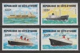 SERIE NEUVE DE COTE D'IVOIRE - DEVELOPPEMENT DES COMMUNICATIONS : BATEAUX N° Y&T 691 A 694 - Bateaux