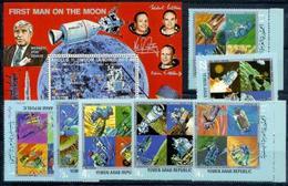 Yemen AR, Space, Moon, 1969, 7 Stamps + Block - Space