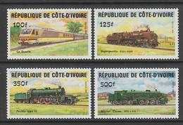 SERIE NEUVE DE COTE D'IVOIRE - DEVELOPPEMENT DES COMMUNICATIONS : LOCOMOTIVES N° Y&T 695 A 698 - Trains