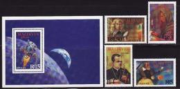 Maldives, 1988, Scientists, Apollo Program, 4 Stamps + Block - Space