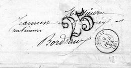 LSC De SARLAT (24) Pour BORDEAUX (33) 19 Février 1854 - CAD Rond Type 15 - Taxe Double Trait 25 - 1849-1876: Periodo Clásico