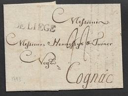1793 - LAC - DE LIEGE A COGNAC - Adressé A HENNESSY Et TURNER (HENNESSY COGNAC) - Marcophilie (Lettres)