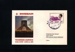 Iran 1976 Swissair First Flight Teheran - Zuerich - Iran