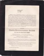 GEMBLOUX Bruxelles Charles-Bernard BAUDE Veuf FROIDMONT Marie-Thérèse Cour D'appel  1815-1892 Enterré Gembloux - Décès