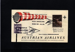 Austria / Oesterreich 1961 Austrian Airlines First Flight Wien - Barcelona - Eerste Vluchten AUA