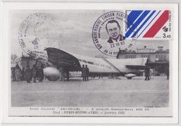 La Roche-sur-Yon Enveloppe Première Liaison Aérienne Paris-Buenos-Aires Arc-en-Ciel Baptême Aérodrome Avion Air France - Avions