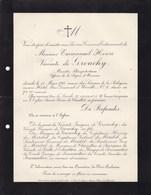 PARIS Emmanuel Vicomte De GROUCHY Ministre Plénipotentiaire  72 Ans 1911 Cimetière Du Père-Lachaisse Lettre Mortuaire - Obituary Notices