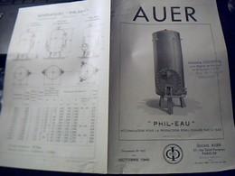 Publicite  Generateur PHIL- EAU AUER Pour Production  D Eau Chaude . Phi  Export  42 P STE AUER   A Paris Rue St Fargeau - Publicités