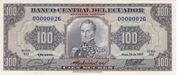 ¡NUMERO MUY BAJO! 00000026 BILLETE DE ECUADOR DE 100 SUCRES DEL AÑO 1980 SIN CIRCULAR-UNCIRCULATED (BANKNOTE) - Equateur