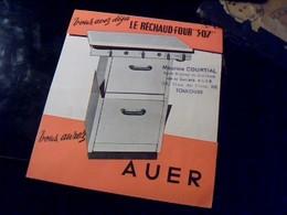 """Publicite TRACT Depliant Original   S Ouvrant En Forme De Rechaud  """" Rechaud - Four AUER Anne 50"""" - Publicités"""