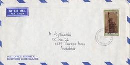ENVELOPPE AIRMAIL CIRCULEE 1988 PENRHYN, COCK ISLANDS A ARGENTINE - BLEUP - Cookeilanden