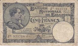 BILLETE DE BELGICA DE 5 FRANCS DEL 03-01-1924  (BANK NOTE) - [ 2] 1831-... : Regno Del Belgio