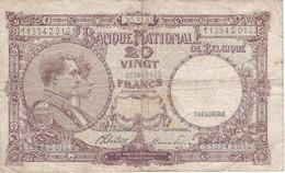BILLETE DE BELGICA DE 20 FRANCS DEL 05-03-1945  (BANK NOTE) TRESORERIE - [ 2] 1831-... : Reino De Bélgica
