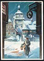 C0473 - Glückwunschkarte Weihnachten - Winterlandschaft Nachtwächter - Weihnachten