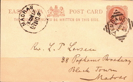 Postal History: East India Postal Stationery Card Sent From Madras In 1897 - India (...-1947)