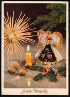 C0475 - Glückwunschkarte Weihnachten Engel Angel Kerze Tannenzweig - Christian Schubert Ebersbach - Weihnachten