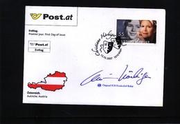 Austria / Oesterreich 2007 Christiane Hoerbiger FDC With Original Autogramme - 1945-.... 2nd Republic