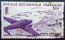 1947  France (ex-colonies & Protectorats) > A.O.F. PA12 Sénégal Avion Survolant Dakar-Plane Flying Over Dakar Oblitéré - A.O.F. (1934-1959)