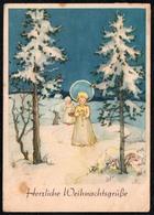 C0477 - Anita Rahlwes Glückwunschkarte Weihnachten Engel Angel - Winterlandschaft - Klautzsch - Weihnachten
