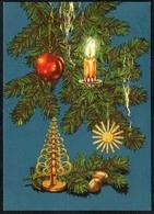 C0478 - Glückwunschkarte Weihnachten Tannenzweig Kerze Baumbehang - Reichenbach DDR - Weihnachten