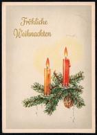 C0479 - Glückwunschkarte Weihnachten Tannenzweig Kerze Baumbehang - Planet DDR - Weihnachten