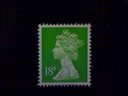 Great Britain, Scott #MH104, Used(o), 1991, Machin: Queen Elizabeth II, 18p, Bright Yellow Green - 1952-.... (Elizabeth II)