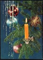 C0481 - Glückwunschkarte Weihnachten Baumbehang Tannenzweig Kerze - Felix Setecki DDR - Weihnachten