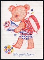 C0482 - Glückwunschkarte Schulanfang Teddy Zuckertüte - VEB Postkarten Berlin - DDR - Einschulung