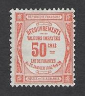 FRANCE 1908 TAXE 50c RED Nº 47 - Steuermarken