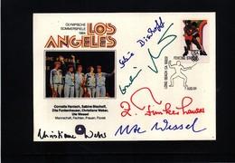 Deutschland / Germany - USA 1984 Oly. Spiele Los Angeles Frauen Fechten Manschaft Goldmedaille Mit Originalautogramme - Fechten