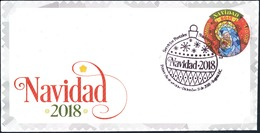 O) 2018 COLOMBIA, CHRISTMAS ODD SHAPE-CATHOLIC RELIGION FESTIVITY, VITRAL VIRGIN MARIA AND NIÑO JESUS, ADHESIVE- STICKER - Colombia