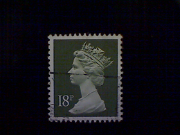 Great Britain, Scott #MH102, Used(o), 1984, Machin: Queen Elizabeth II, 18p, Olive Green - 1952-.... (Elizabeth II)