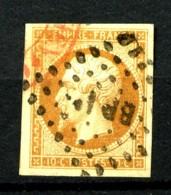13A - 10c Bistre Empire ND - Double Oblitération Rouge + Losange BP 1 - Lègère Trace De Pli - Très Bel Aspect. - 1853-1860 Napoleon III