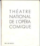 Théâtre National De L'Opéra Comique. Werther. - Programmes