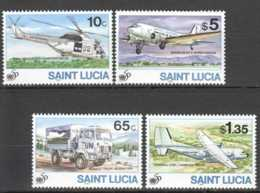 1995 St.Lucia - 50 Years Of UN MNH** MiNr. 1033 - 1036 (kk) Helicopter, Jet, Trucks,  Aircraft - St.Lucie (1979-...)