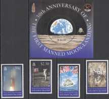 1999 Solomon Islands - 30 Years Of First Moon Landing - Set And MS - MNH** MiNr. 995 - 999 (Block 56) Joint Issue - Gemeinschaftsausgaben